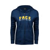 ENZA Ladies Navy Fleece Full Zip Hoodie-Arched Pace Setters