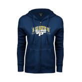 ENZA Ladies Navy Fleece Full Zip Hoodie-Baseball Design