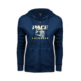 ENZA Ladies Navy Fleece Full Zip Hoodie-Lacrosse Design