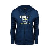 ENZA Ladies Navy Fleece Full Zip Hoodie-Lacrosse Design