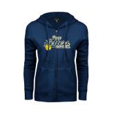 ENZA Ladies Navy Fleece Full Zip Hoodie-Softball Design