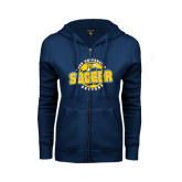 ENZA Ladies Navy Fleece Full Zip Hoodie-Soccer Circle Design