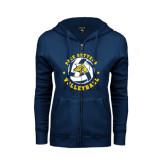 ENZA Ladies Navy Fleece Full Zip Hoodie-Volleyball Star Design