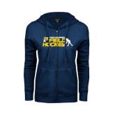 ENZA Ladies Navy Fleece Full Zip Hoodie-Field Hockey Design