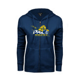 ENZA Ladies Navy Fleece Full Zip Hoodie-Official Logo