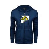 ENZA Ladies Navy Fleece Full Zip Hoodie-P w/T-Bone