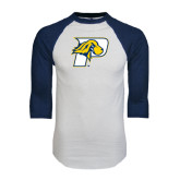 White/Navy Raglan Baseball T-Shirt-P w/T-Bone