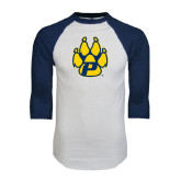 White/Navy Raglan Baseball T-Shirt-Paw