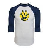 White/Navy Raglan Baseball T-Shirt-Paw