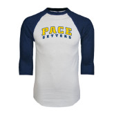 White/Navy Raglan Baseball T-Shirt-Arched Pace Setters
