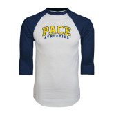 White/Navy Raglan Baseball T-Shirt-Arched Pace Athletics