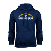 Navy Fleece Hoodie-Arched Football Design