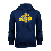 Navy Fleece Hood-Soccer Circle Design