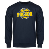 Navy Fleece Crew-Soccer Circle Design