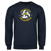 Navy Fleece Crew-Volleyball Star Design