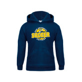 Youth Navy Fleece Hoodie-Soccer Circle Design