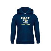 Youth Navy Fleece Hoodie-Lacrosse Design