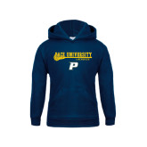 Youth Navy Fleece Hoodie-Stacked Lacrosse Design