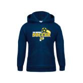 Youth Navy Fleece Hoodie-Soccer Swoosh