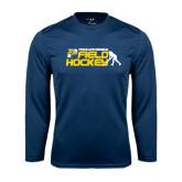 Performance Navy Longsleeve Shirt-Field Hockey Design