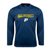 Performance Navy Longsleeve Shirt-Stacked Lacrosse Design