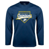 Performance Navy Longsleeve Shirt-2016 Northeast 10 Conference Champions Softball