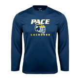 Performance Navy Longsleeve Shirt-Lacrosse Design