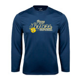 Performance Navy Longsleeve Shirt-Softball Design