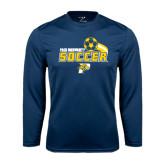 Performance Navy Longsleeve Shirt-Soccer Swoosh