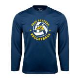Performance Navy Longsleeve Shirt-Volleyball Star Design