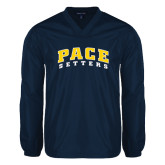 V Neck Navy Raglan Windshirt-Arched Pace Setters