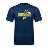 Performance Navy Tee-Soccer Swoosh