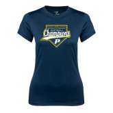 Ladies Syntrel Performance Navy Tee-2016 Northeast 10 Conference Champions Softball