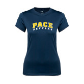 Ladies Syntrel Performance Navy Tee-Arched Pace Setters