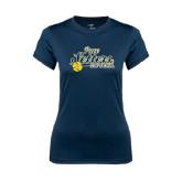 Ladies Syntrel Performance Navy Tee-Softball Design