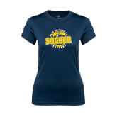 Ladies Syntrel Performance Navy Tee-Soccer Circle Design