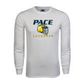 White Long Sleeve T Shirt-Lacrosse Design