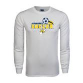 White Long Sleeve T Shirt-Soccer Swoosh
