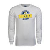 White Long Sleeve T Shirt-Soccer Circle Design