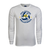 White Long Sleeve T Shirt-Volleyball Star Design