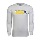 White Long Sleeve T Shirt-Field Hockey Design