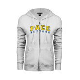 ENZA Ladies White Fleece Full Zip Hoodie-Arched Pace Setters