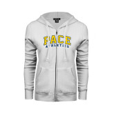 ENZA Ladies White Fleece Full Zip Hoodie-Arched Pace Athletics