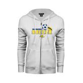 ENZA Ladies White Fleece Full Zip Hoodie-Soccer Swoosh