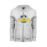 ENZA Ladies White Fleece Full Zip Hoodie-Soccer Circle Design