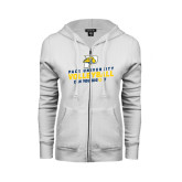 ENZA Ladies White Fleece Full Zip Hoodie-Can You Dig It Volleyball