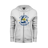 ENZA Ladies White Fleece Full Zip Hoodie-Volleyball Star Design