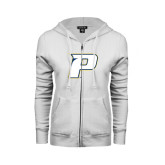 ENZA Ladies White Fleece Full Zip Hoodie-P