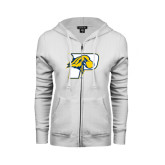 ENZA Ladies White Fleece Full Zip Hoodie-P w/T-Bone