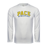 Performance White Longsleeve Shirt-Arched Pace Athletics